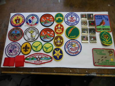 Boy Scout Large Lot Of 21 Patches And 8 Belt Acheivmant Badges Or Slides