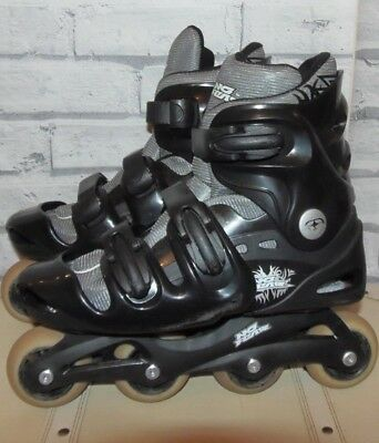 No Fear black Inline skates /  roller blades 70mm 82A fitness Vortex Size 5-8