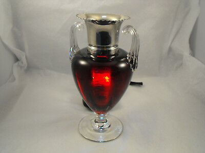 Beautiful ruby red vase with silver rim, B'Ham 1904, Arthur Willmore Pennington
