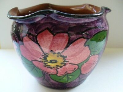 Longpark Torquay Ware Faience Bowl With Hand Painted Rose Decoration