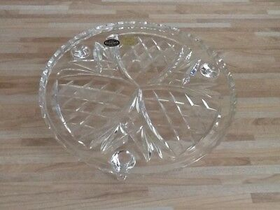 Bohemia hand cut single tier glass cake stand