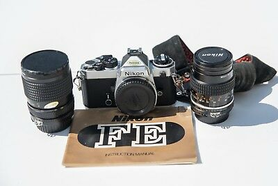 Nikon FE Camera with two lenses