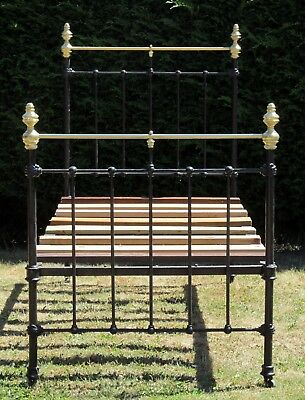 Antique Brass and Iron Standard Single ( 3ft wide )  Bed with Pine Base