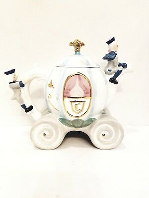 Rare vintage Walr Disney Fine China Hand-painted Cinderella Carriage Teapot.