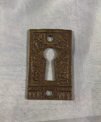 Antique Eastlake Victorian Brass Escutcheon Hardware Collectible 1 3/4 X 1""