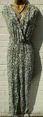 Green And White Jumpsuit Size 14