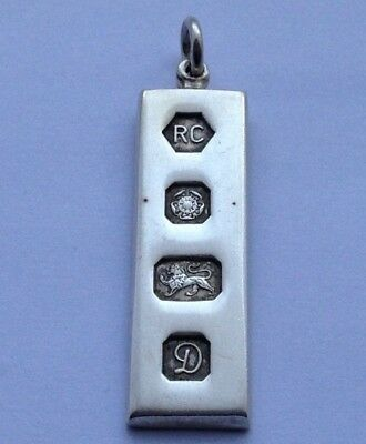 Lovely Vintage 1978 English Sterling Solid Silver Ingot Fob/pendant
