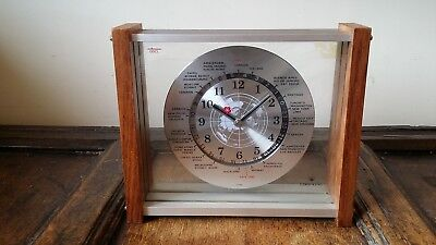 1970's Vintage Retro Japanese Lord King World Time Wall / Mantel Clock