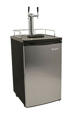 Stainless Steel Dual-Tap Home Beer Kegerator, Full Size Commercial Brew Fridge