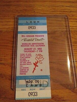 Grateful Dead Mail Order Ticket Stub, 08/27/1992, Shoreline, Mountainview