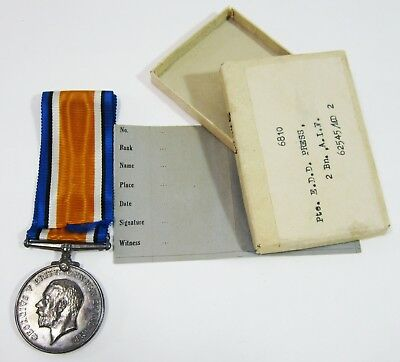 WWI British War Medal Silver Named w/ Box 2nd Battalion Australian Inf AIF