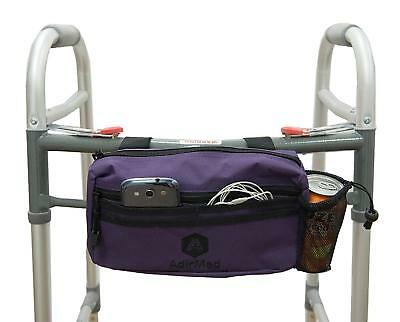Wheelchair Pouch Rollator Walker Cycle Scooter Storage Bag Mesh Cup Holder Purpl