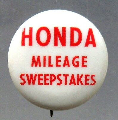 1967 HONDA MILEAGE SWEEPSTAKES vintage motorcycle pinback button a2