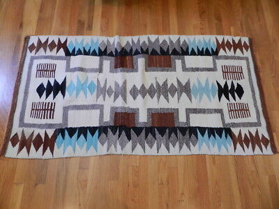 "Very Old Navajo Two Grey Hills, Crystal Rug, With Blue, 34""x65"", From Estate, NR"