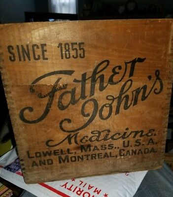 """Vintage Wooden Crate """"Father John's Medicine.   Lowell mass /canada"""