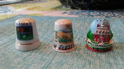 State Thimbles, Lot of 3, Hawaii, New Jersey, Virginia, Excellent condition