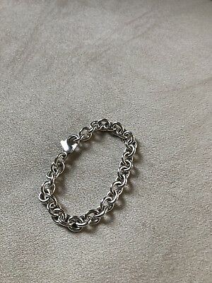Tiffany & Co Sterling Silver 925 Rolo Chain Link Charm Bracelet Lobster Clasp