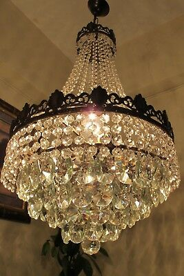 Antique Vintage French Basket style Crystal Chandelier Light Lamp 1940's 16 in..