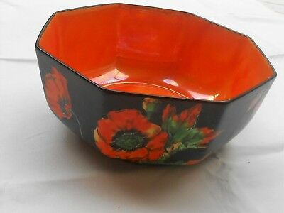 Crown Ducal  - Bowl - Black Exterior with Poppies & Orange Interior