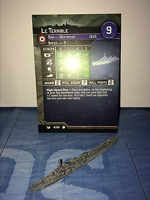 Axis and Allies War at Sea Base Set Le Terrible 4/64 with card