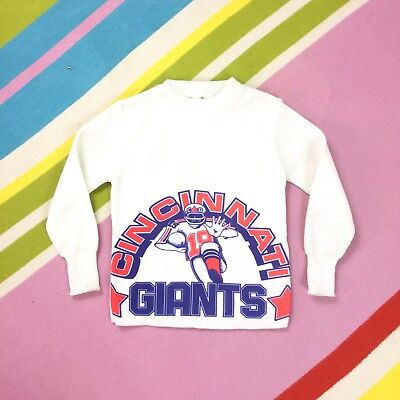 Vtg 70s Kids Cincinnati Giants Sweater Jumper White Blue American Football 4-5 Y