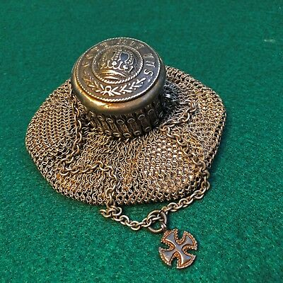 German WW2/WW1 Vintage Antique Coin Holder,Purse, Old Chain FOB Iron Cross