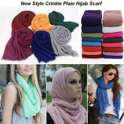 New Crimp Crinkle Plain Hijab Scarf Maxi Headscarf Crimp Scarves Shawl Ruffle