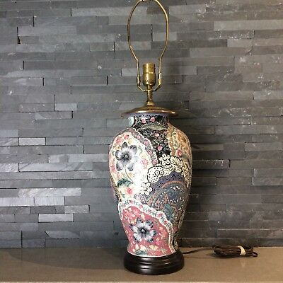 Vintage Ceramic Chinoiserie Floral Table Lamp