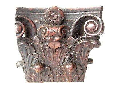 17thC Antique Architectural HAnd Carved Wood Fragment Relic Remnant Salvage Rare