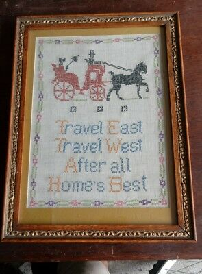 Early 20th Century Vintage 16 x 12 Framed Cross Stitch Horse @ carriage w poem
