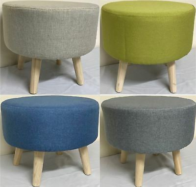 Modern Coloured Upholstered Footstool Ottoman Pouffe Stool Wooden 4 Legs Round