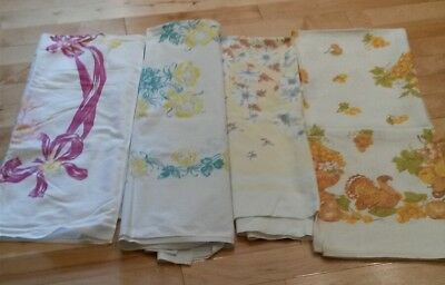 Lot of 4 Nice vintage Tablecloths faded