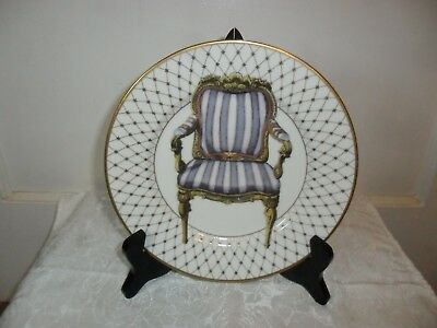 """Fitz and Floyd Chaise IV Plate Hand Decorated Chair Plate 8.25"""" Round - EUC"""