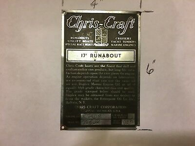 Chris Craft 17' RUNABOUT Data Plate