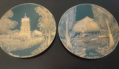 Chile Vintage Hand Made Copper Decorative Plates set of two