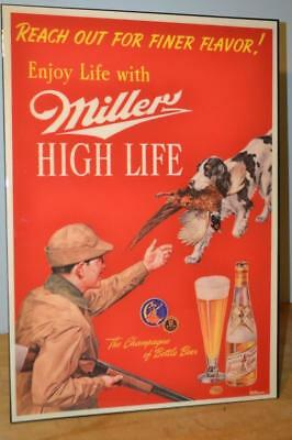 Nib Rare Miller High Life Hunting Scene Beer Sign~Reach Out For Finer Flavor
