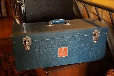 Old GE General Electric Blue Aluminum Electron Tube Case Rare