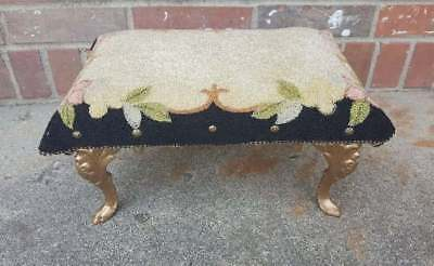 Antique Foot Stool Bench Gold Cast Iron Feet Pink Black Floral 13x9.5x7