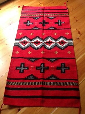 Navajo Design/Southwestern Acrylic Rug or Wall Hanging 32 X 64 Red Three Cross