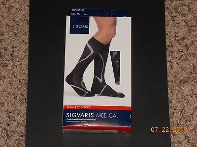 Sigvaris Traverse Medical Socks - Graduated Compression Socks - Black - Size ML