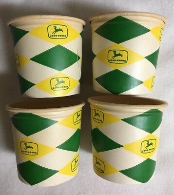 4 Vintage John Deere Paper Hot Drink Cups, Never Used