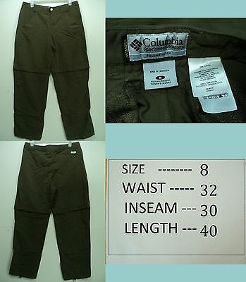 Columbia Titanium Women Nylon Convertible Zip off Packable Hiking Pants sz 8