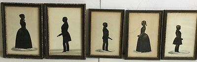 Frith Silhouettes (5) Pearce Family Full-Length Portraits Gold Embellished c1840