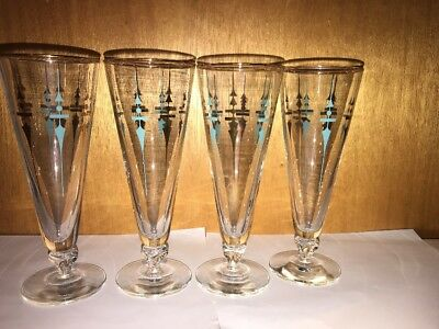 Mid Century Modern Glasses Mcm Vintage Atomic Beer Turquoise Gold Kitchen (4)