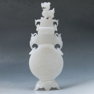 100% Natural White Jade Hand Carved Peony Vase AFH4