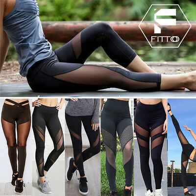 Women Sports Mesh YOGA Pants Leggings Workout Gym Fitness Jumpsuit Athletic G10