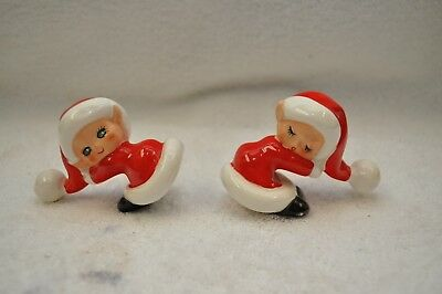 Vintage Lefton Christmas elves pixies in Santa hats salt & pepper shakers Japan