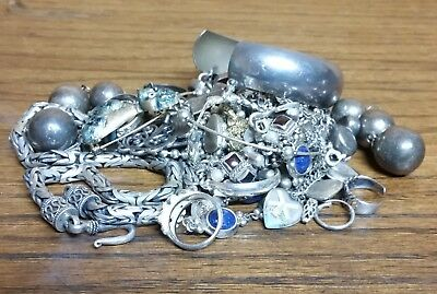 Sterling Silver Jewelry Scrap 320 grams All Marked and Few Stones