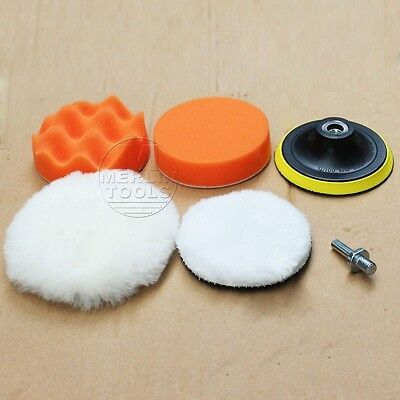 """150mm/6"""" Car Polisher Buffing Pad Kit Pads Backing Plate And Drill Shank Adaptor"""