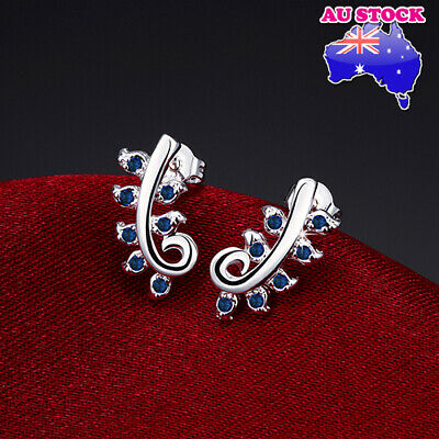 Wholesale Stunning 925 Sterling Silver Filled Blue Zirconia Crystal Leaf Earring